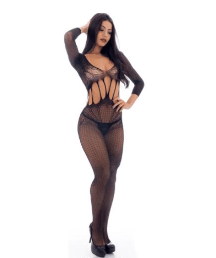 Macacão bodystocking lingerie arrastão rendado