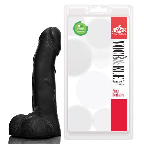 Pênis 69 com escroto 19 x 4,5cm sem vibro preto