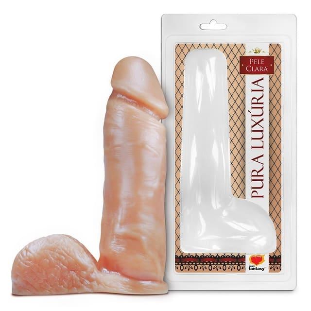 Pênis com escroto sem vibro - 20,5 x 4,7cm - Pele