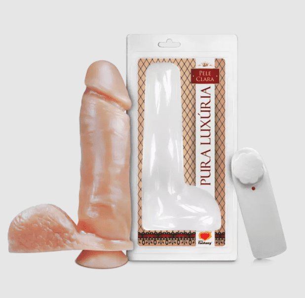 Pênis com escroto, vibro e ventosa 20,5 x 4,7 cm