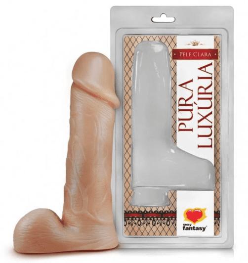 Pênis Prótese Realistico com escroto maciço - 18 x 4cm pele