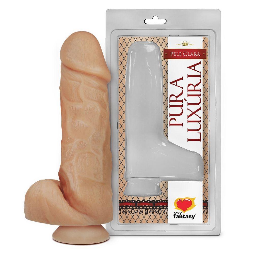 Pênis realístico com escroto sem vibro 18 x 5cm