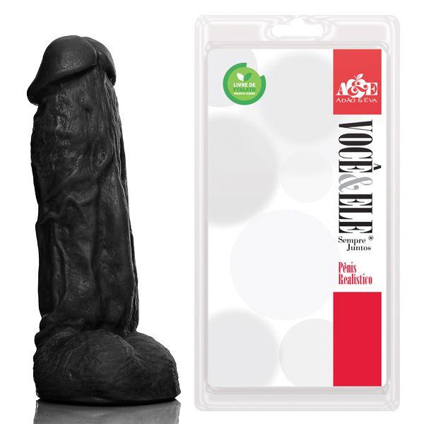 Prótese com escroto Kong com Vibro - 19,5x5,5 cm na cor preto