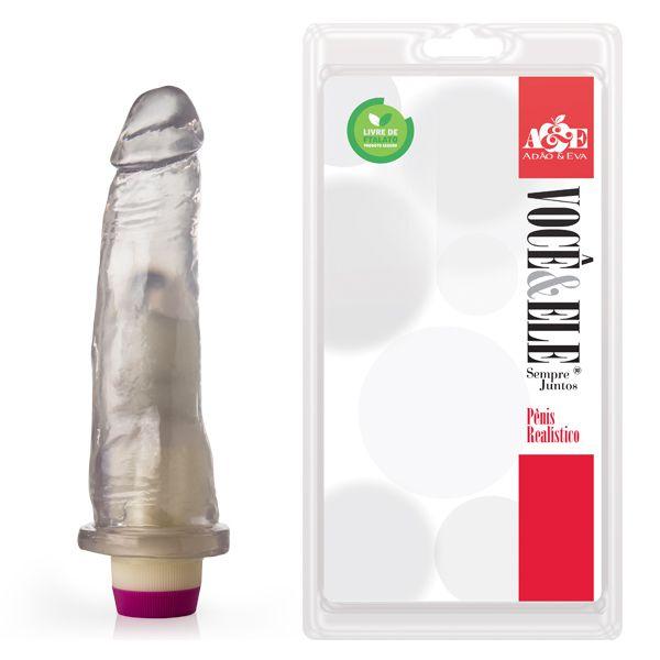 Prótese com vibrador 10 - 18,5x4,5 cm - Translúcido