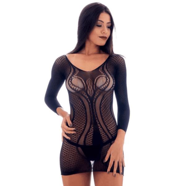 Vestido lingerie arrastão rendado