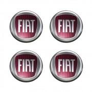 Kit 4 Emblemas Adesivo Resinado Para Calota Fiat