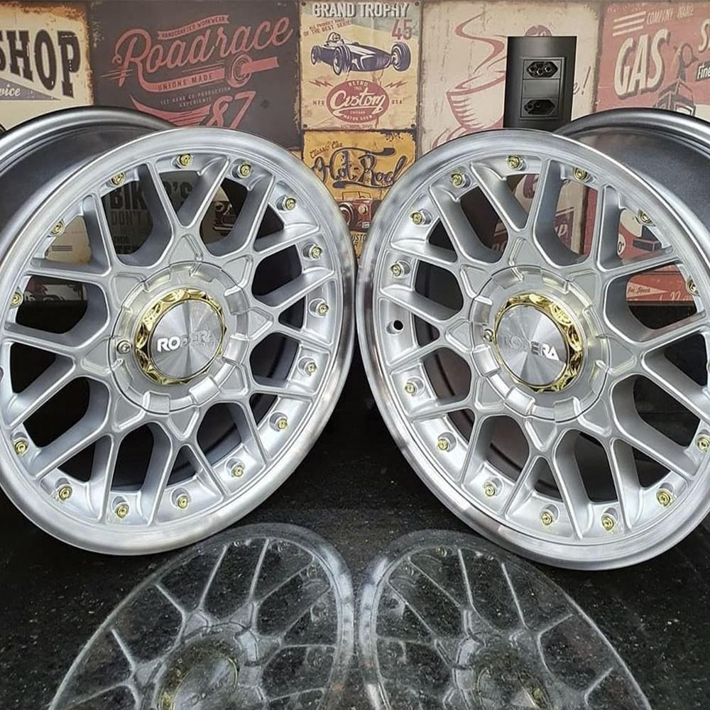 Jogo de Rodas Rodera RS2 Flat Aro 15x7 4x100/108 Prata