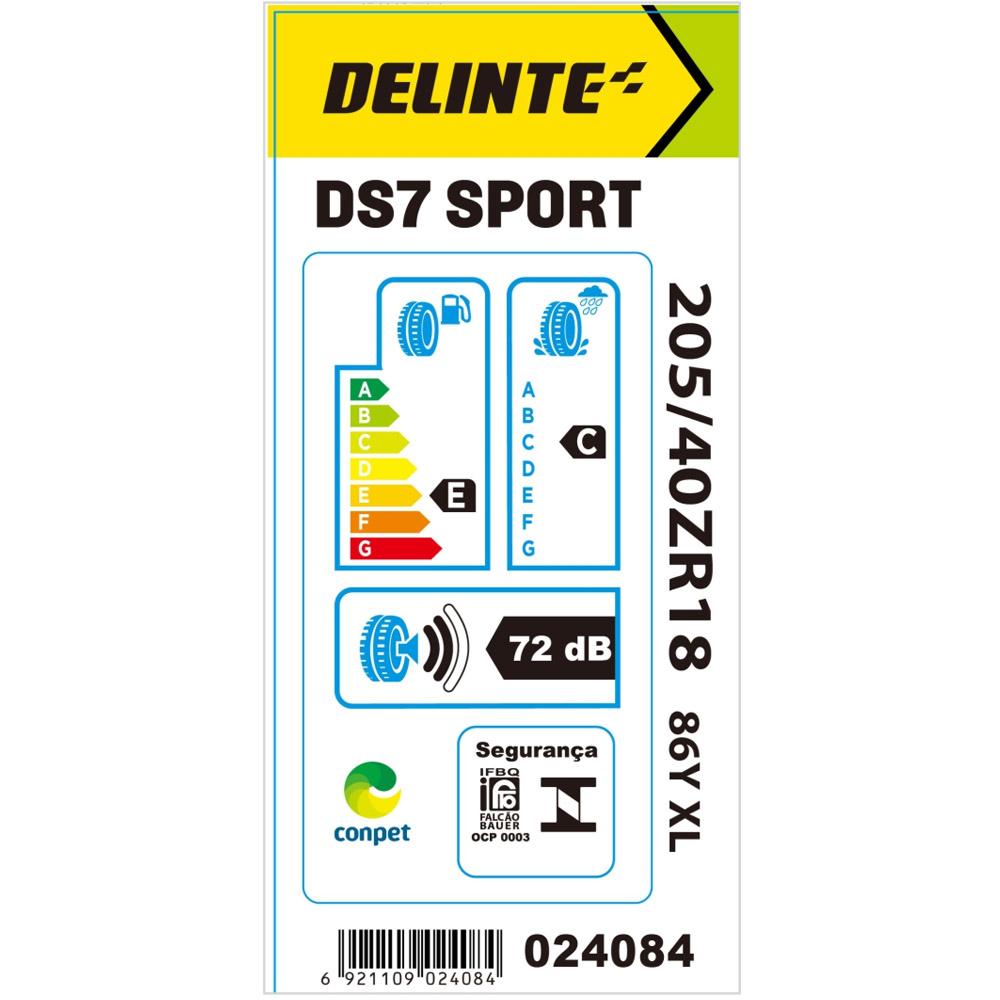Kit 2 Pneu Delinte Aro 18 205/40 R18 86Y XL DS7 Sport