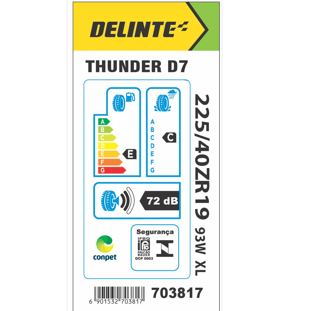 Kit 2 Pneus Delinte Aro 19 225/40 R19 93W XL D7 Thunder