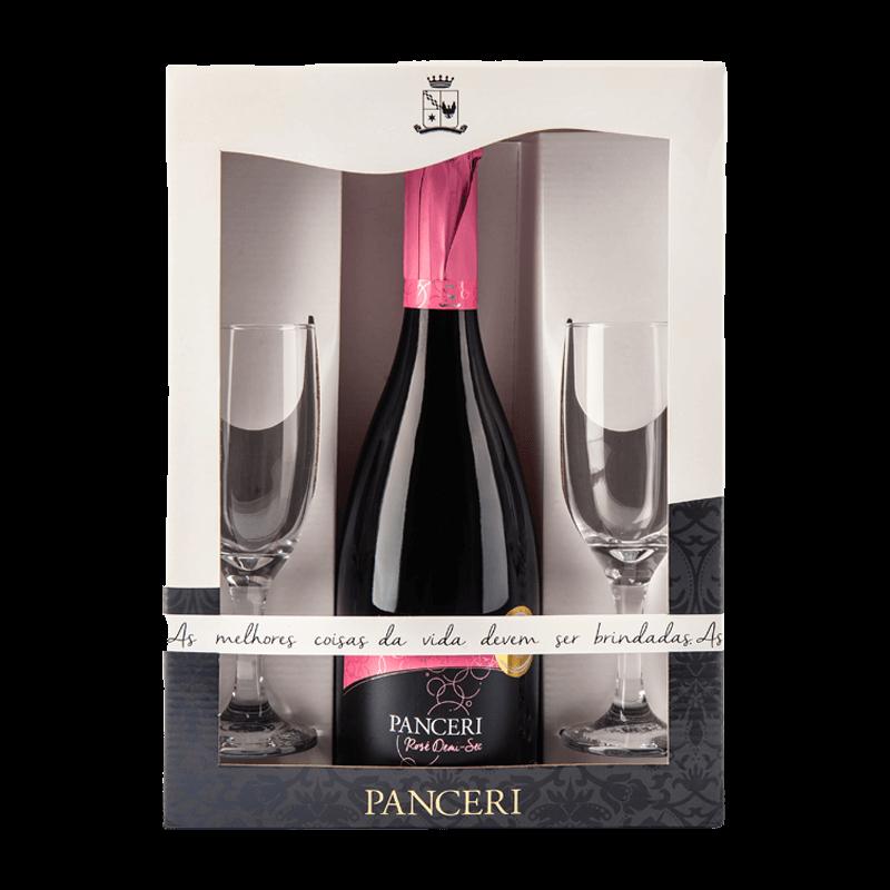 Combo Espumante Rosé Demi-sec e 2 taças de vidro  - Vinícola Panceri