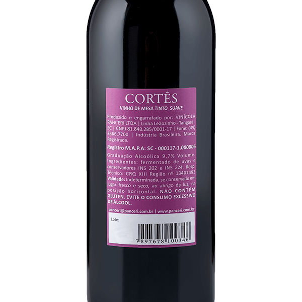 Cortês Tinto Suave   - Vinhos Panceri