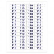 Adesivo Autocolante Etiqueta 110 v Azul Cartela 64 Unidades