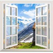 Adesivo de Parede Decorativo Janela 3D Casa na Montanha