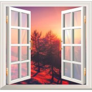 Adesivo de Parede Decorativo Janela 3D Por do sol Montanhas