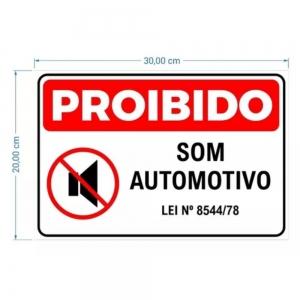 Adesivo Identificação Informação Proibido Som Automotivo