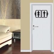 Adesivo Recorte Indicativo de Banheiro 30x50cm Preto