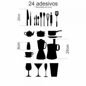 Adesivo Silhueta Utensílios de Cozinha com 24 unidades