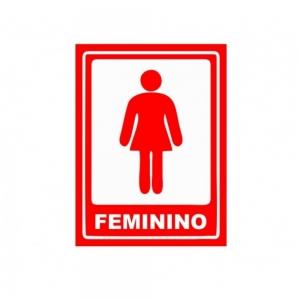 Adesivo Sinalização Banheiro Feminino Vermelho