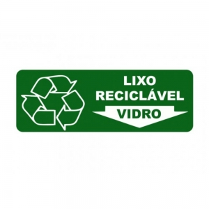 Adesivo Sinalização Identificação Lixo Reciclável Vidro