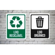 Combo 26 Placa Lixo Reciclável Lixo Orgânico