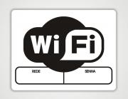 Placa PVC Wifi Branco e Preto Espaço para Senha