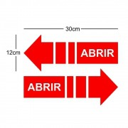 Kit 2 Adesivo Identificação Informação Seta Porta de Correr