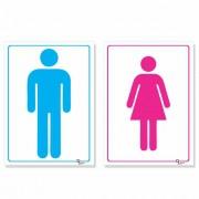 Kit 2 Placa PVC Banheiro Masculino Feminino