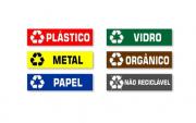 Kit 6 Placa PVC Identificação Lixo e Lixeiras