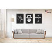 Kit Com 10 Placas Decorativas em MDF Caveiras Black