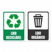 Kit com 2 Placa PVC Lixo Reciclável Lixo Orgânico