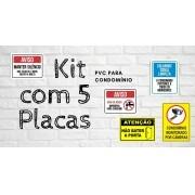 Kit com 5 Placas para Condomínio 15x20cm em PVC