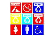 Kit com 9 Placa PVC Identificação Local Segurança
