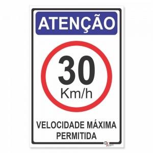 Placa de Sinalização Atenção Velocidade 30km