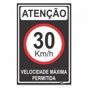 Placa de Sinalização Atenção Velocidade 30km 3