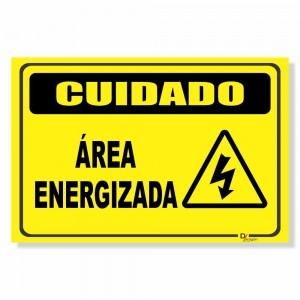 Placa de Sinalização Cuidado Área Energizada