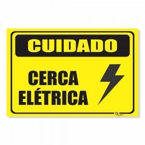 Placa de Sinalização Cuidado Cerca Elétrica