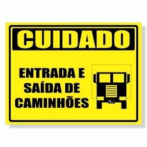 Placa de Sinalização Cuidado com Caminhões