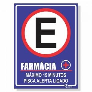 Placa de Sinalização Farmácia Máximo 10min 3