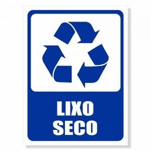 Placa de Sinalização Lixo Reciclável Seco