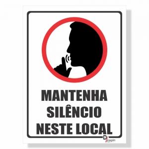 Placa de Sinalização Manter Silêncio