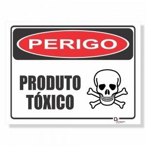 Placa de Sinalização Perigo Produto Tóxico