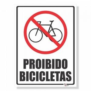 Placa de Sinalização Proibido Bicicletas