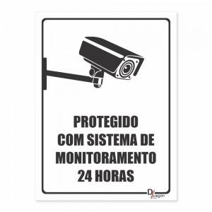 Placa de Sinalização Protegido Sistema de Monitoramento 24hr