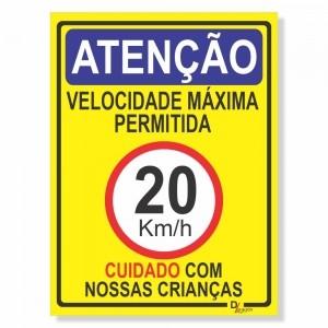 Placa de Sinalização Velocidade máxima 20km 2
