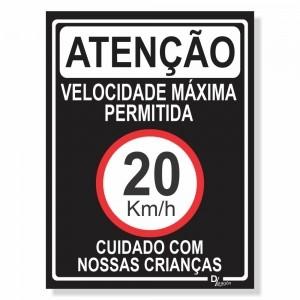 Placa de Sinalização Velocidade máxima 20km 3