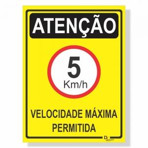 Placa de Sinalização Velocidade máxima 5km 2
