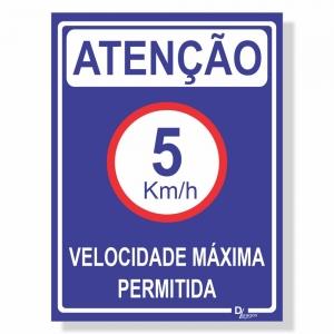 Placa de Sinalização Velocidade máxima 5km 3