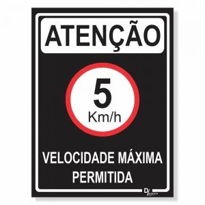 Placa de Sinalização Velocidade máxima 5km 4
