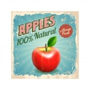 Placa Decorativa Apples Natural Cartaz Retro 30x30cm