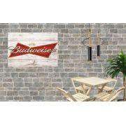 Placa Decorativa Bar Madeira Cerveja Budweiser